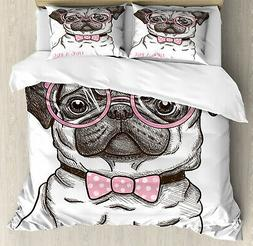 Ambesonne 0498409 Pug Duvet Cover Set Queen Size with Pillow
