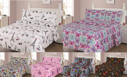 NEW 3/4PC BED SHEET SET BEDROOM FITTED FLAT PILLOWCASES KIDS
