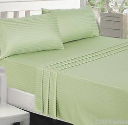 Utopia Bedding 3 Piece Sheet Set Twin Sage green stripe Deep