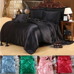4 PCS Silk Blend Bedding Sets Sheets Duvet Cover Pillowcase