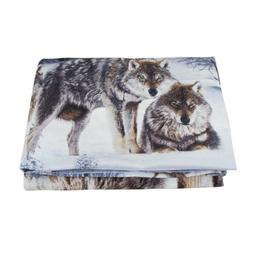 4 Piece Wolf 3D Bedding Set Twin Snow Wolf in the Woods Prin