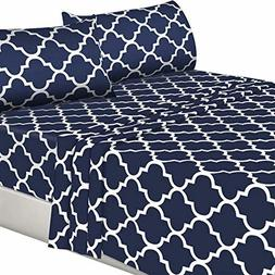 Utopia Bedding 4PC Bed Sheet Set 1 Flat Sheet, 1 Fitted Shee
