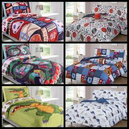 5 / 6PC TWIN BOYS KIDS COMFORTER COMPLETE BEDDING SET MANY D