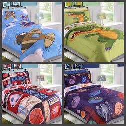 5PC TWIN KIDS BOYS TODDLERS REVERSIBLE PRINTED BED COMFORTER
