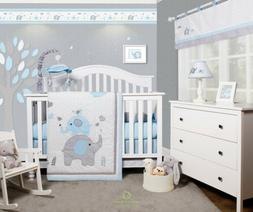 6-Piece Blue Grey Elephant Baby Boy Nursery Crib Bedding Set