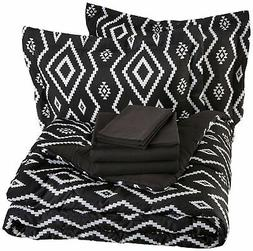 AmazonBasics 7-Piece Bed-In-A-Bag - Full/Queen, Black Aztec