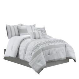 Chezmoi Collection 7-Piece Chenille Geometric Embroidered St