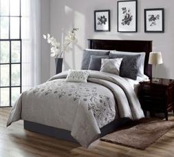 Chezmoi Collection 7-Piece Gray White Embroidered Floral Scr