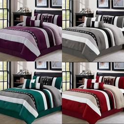 DCP 7 Pieces Luxury Bedding Comforter Sets Bed in Bag Stripe