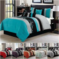 7 piece luxury leaves scroll embroidery bedding