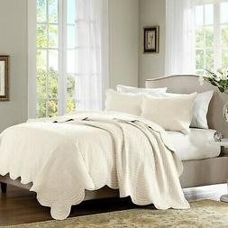 Madison Park Tuscany 3 Piece Coverlet Set, Full/Queen, Ivory