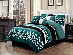 7-Pc Alpen Zigzag Saw Teeth Embroidery Pleated Stripe Comfor