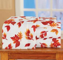 Autumn Leaves Bed Sheet Set Fall Leaf Pattern Bedding Bright