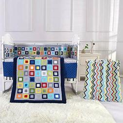 Baby Crib Bedding Sets For Boys Blue 8 Piece Square Geometry