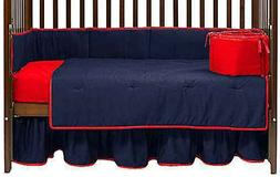 Baby Doll Bedding Solid Reversible 8 Piece Crib Set Red Navy