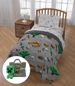 Minecraft Bed in a Bag Twin Bedding Set with Mini Pillow Plu