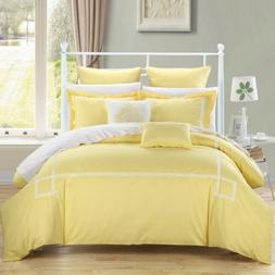 Chic Home Bedding Woodford Yellow White 7 Piece Comforter Se
