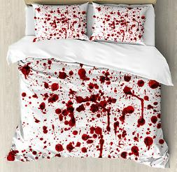 Bloody Duvet Cover Set with Pillow Shams Splashes of Blood S