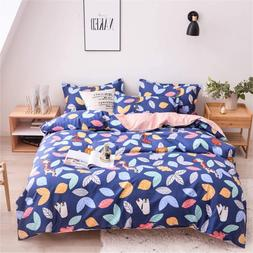 blue cartoon duvet cover set botanical pattern