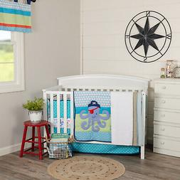 Blue Kids VHC Sea Pirate Crib Quilt Set Tab Top Polyester Bl