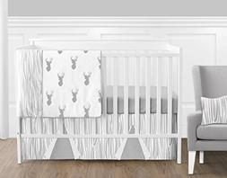 Bumperless Grey And White Woodland Deer Forest Outdoor Baby