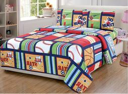 Cheap Sheet Set Twin Size 3 Piece Red Green Sport Kids Boys