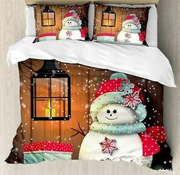 Ambesonne Christmas Duvet Cover Set King Size, Cute Snowman