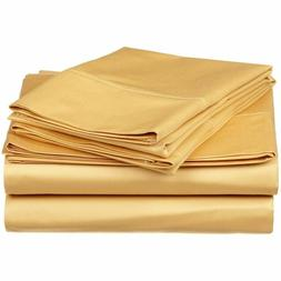 Complete Bedding Set Gold Solid Choose Sizes 1000 Thread Cou