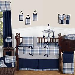 Sweet Jojo Country Navy Blue and Grey Plaid Baby Bedding Cri