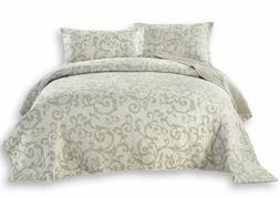 DaDa Bedding White Floral Damask Freesia Elegant Quilted Cov