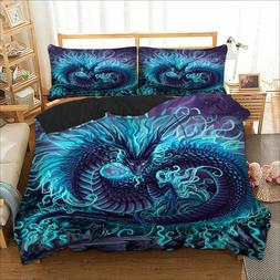 HD Animal Blue Duvet Cover Set Twin/Queen/King Size Bedding