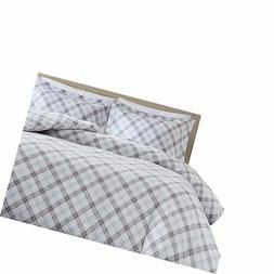 Duvet Cover Queen Bedding Sets - Soft Cotton Flannel Grey an
