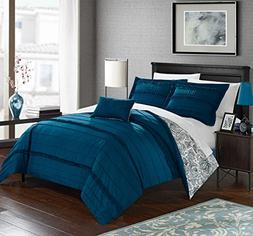 Chic Home 4 Piece Eliza Pleated And Ruffled Reversible Paise