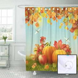 Fabric Shower Curtain Curtains W Hooks Colorful Fall Autumn