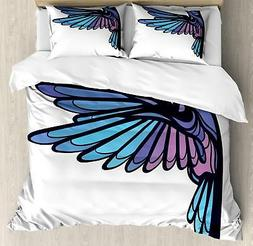 Feather Duvet Cover Set Twin Queen King Sizes with Pillow Sh