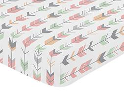 Sweet Jojo Designs Fitted Crib Sheet for Coral, Mint and Gre
