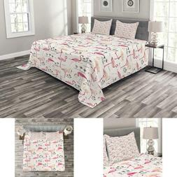 Ambesonne Flamingo Bedspread, Flamingos In Vintage Style Ill