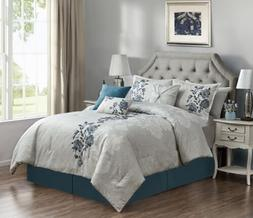 Chezmoi Collection Flora 7-Piece Blue Floral Embroidered Bed
