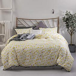feelyou Floral Duvet Cover Sets Queen Bedding Sets Yellow Fl