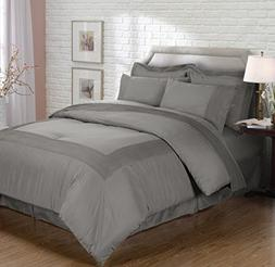 Chezmoi Collection 8pc Gray Pleated Bed-in-a-Bag Comforter &
