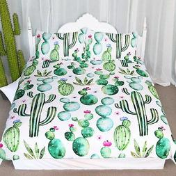 Arightex Green Cactus Pattern Bedding Sets Watercolor Cactus