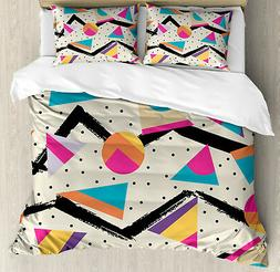 Indie Duvet Cover Set with Pillow Shams 80s Funky Memphis Fa
