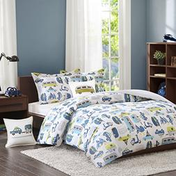 INK+IVY Kids Road Trip Twin Kids Bedding Sets for Boys - Whi