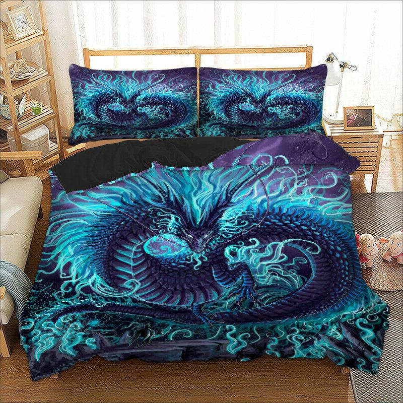 HD Dragon Animal Blue Duvet Cover Set Twin Queen King Size B