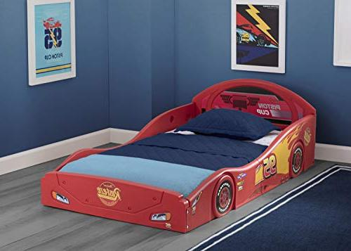 Disney Pixar Lightning McQueen Race Car and Play Toddler Bed with Attached Guardrails Delta Children