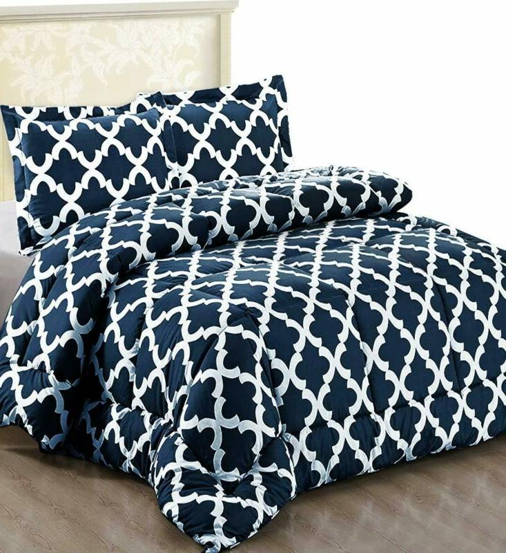 printed comforter set with 2 pillow shams