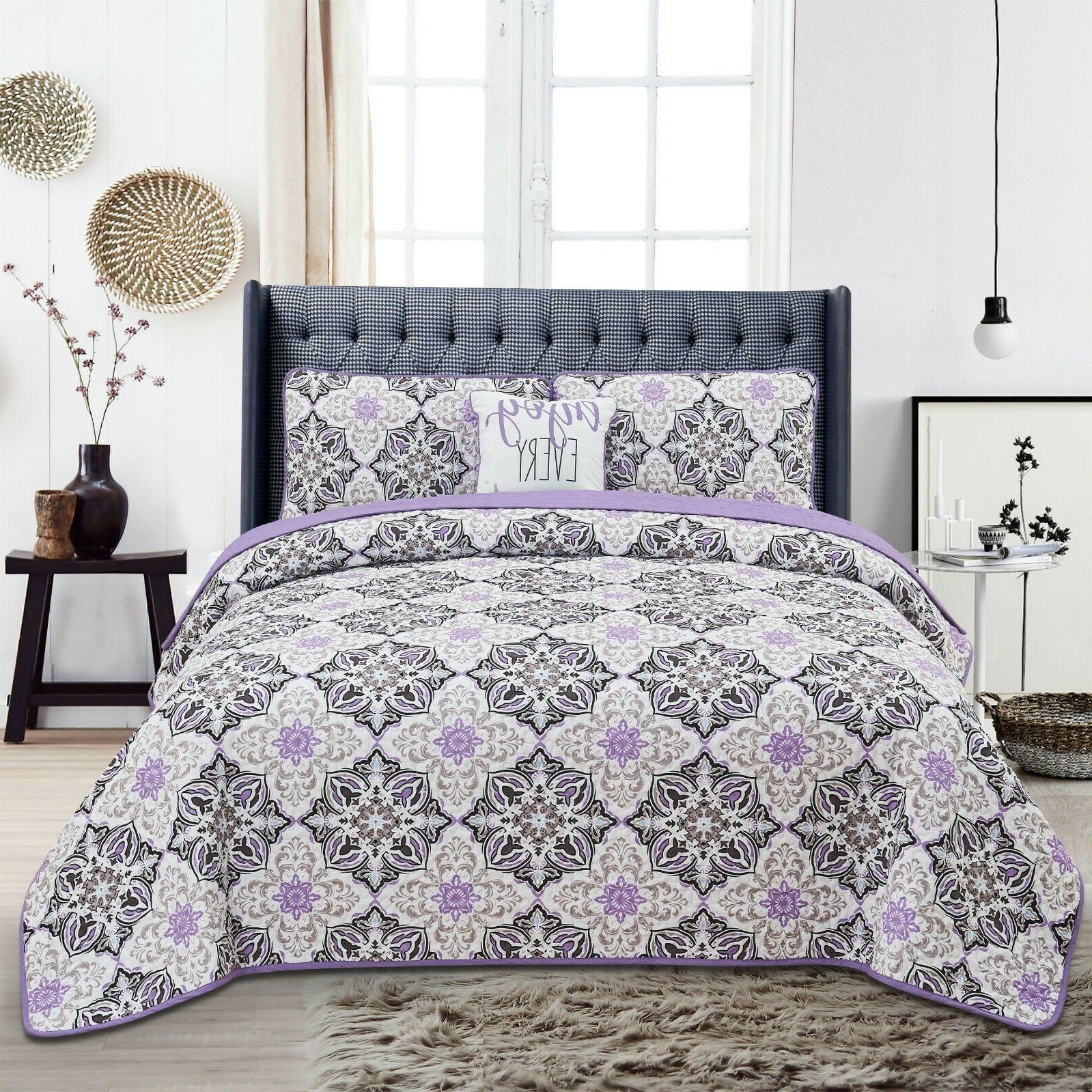 Queen Quilt Bedding Printed Pattern 4 Piece Quilt Set Bedding Set