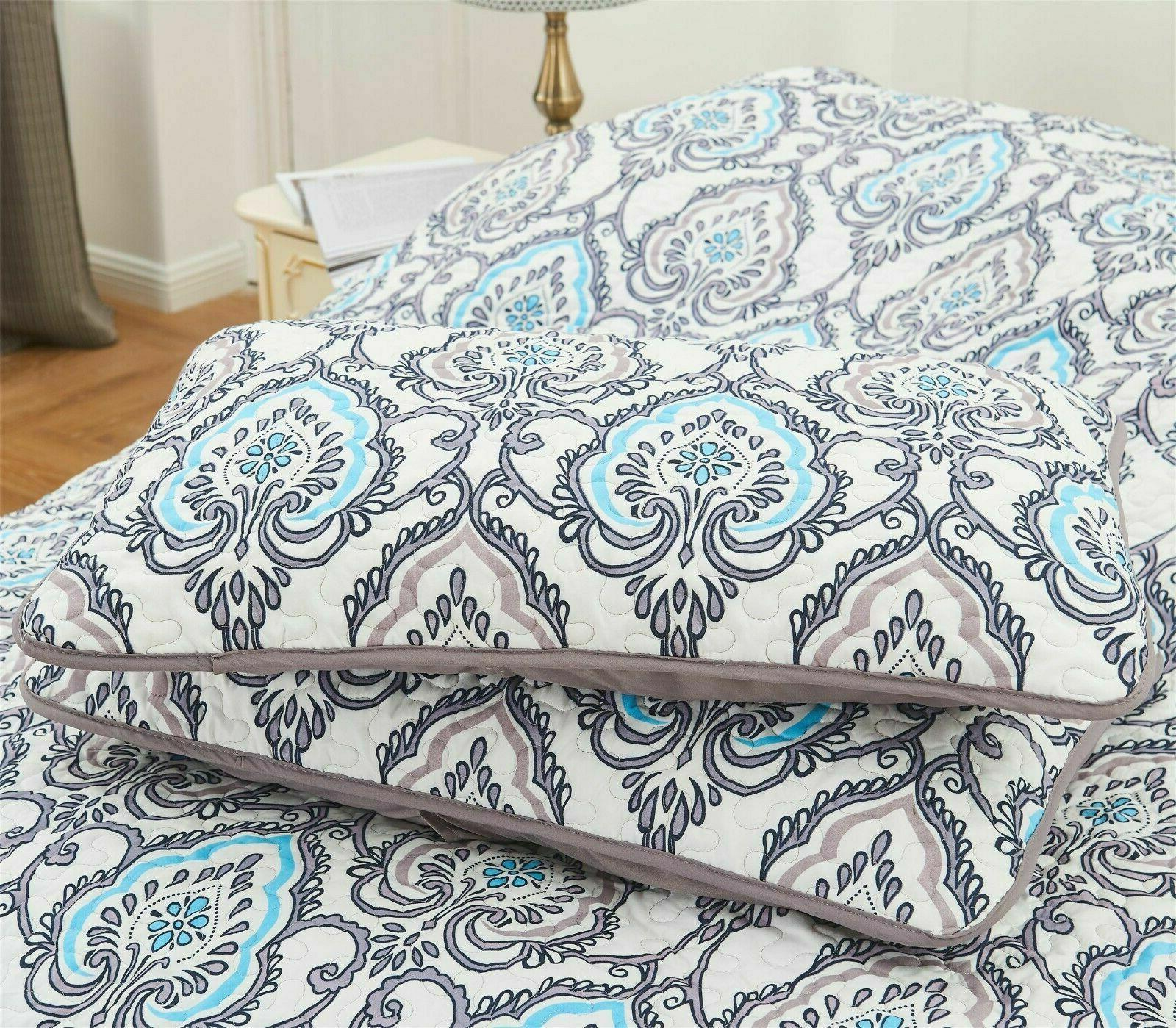 Queen Printed Pattern Piece Quilt King Bedding