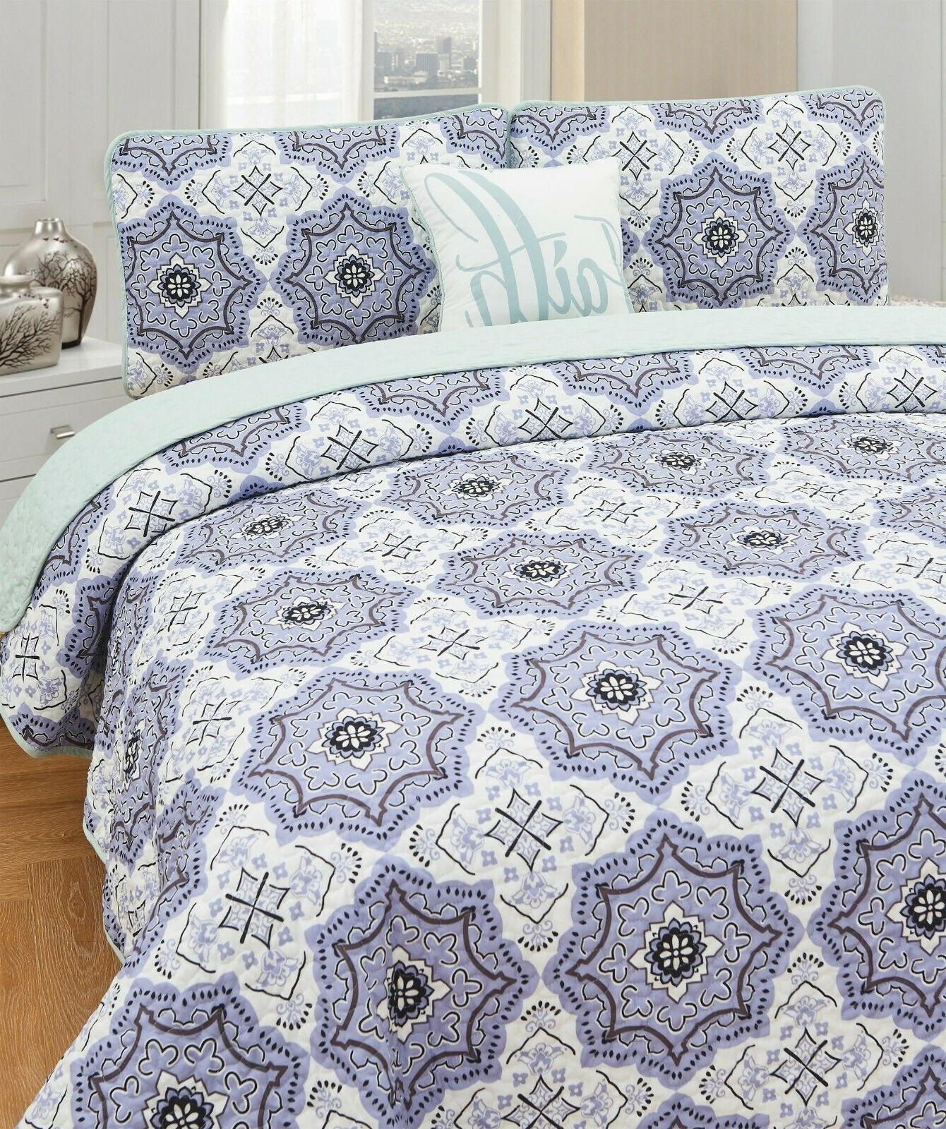 Queen Printed Pattern Quilt Set King Bedding Set