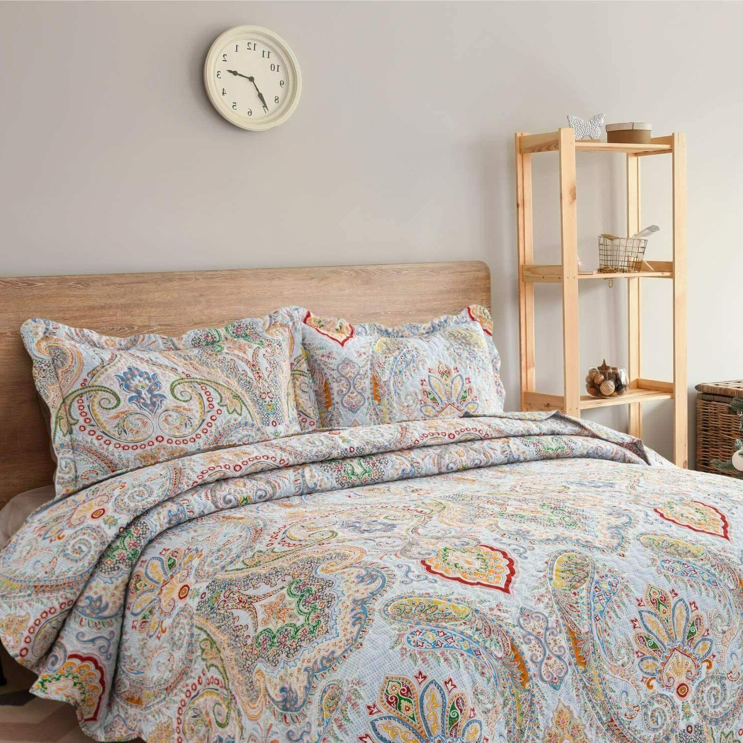Bedsure Quilt Set-Full/Queen Paisley